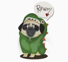 Rawr: the dinosaur pug by elenapugger