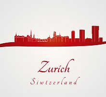 Zurich skyline in red by Pablo Romero