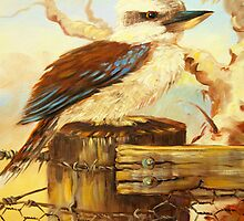 kookaburra on fence by Glen Johnson