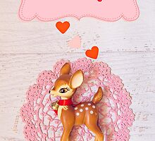 I love you says bambi Valentine card  by Zoe Power