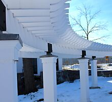 White Pergola against Blue backdrop by jjastren