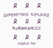 CHARITY FUNDRAISER - 9 Ribbon T-Shirt, PURPLE DAY FOR EPILEPSY AWARENESS  MARCH 26 2014 by Rebecca Hansen