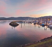 Boats at sunset in the John Wayne Marina by Moonamie