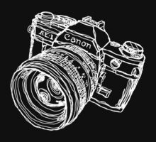 Canon AE-1 Illustration White Ink for Dark Shirt by strayfoto