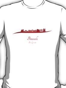 Brussels skyline in red  T-Shirt