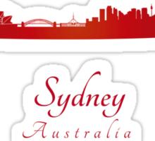 Sydney skyline in red Sticker