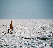 Keen windsurfer Lago Garda nr Riva di Garda Italy 198404210041 by Fred Mitchell