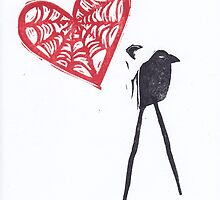 Strange Love Raven with Cob Web Heart by craftyhag