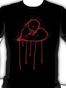 Broken Heart - Bleeding Heart - Love, Blood Smears and Drips T-Shirt