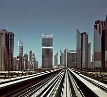 Dubai skyline from metro by naufalmq