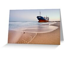 Wrecked ship ashored in Sharjah - Ajman beach on the cost of Persian Gulf Greeting Card
