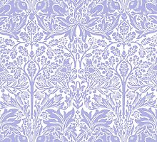 William Morris Rabbit and Bird Blue and White by Pixelchicken