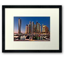 Dubai Marina night Framed Print