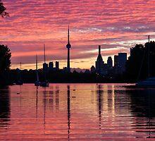 Fiery Sunset - Downtown Toronto Skyline with Sailboats by Georgia Mizuleva