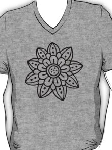 Doodle flower, black T-Shirt