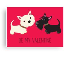 Be My Valentine – Westie & Scottie Canvas Print