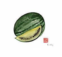 Melon Green Watermelon Treasures Kitchen Fruit Fruits Yellow Garden by Johana Szmerdt