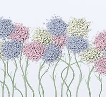 Pastel Cotton Ball Flower Scene by OneArtsyMomma