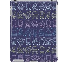 Cute robots stripes pattern iPad Case/Skin
