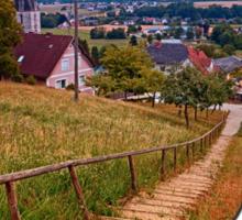 Stairway to the village center | landscape photography Sticker