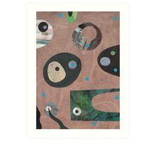 Retro Collage Pale Teracotta Art Print
