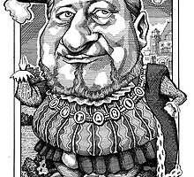 Premier Mike Harris as King Henry VIII by MacKaycartoons