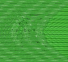 Green Circles Stipes Abstract by Donna Grayson