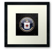 Central Intelligence Agency - CIA Emblem 3D on Black Velvet Framed Print