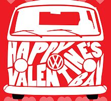 Valentine's Day VW Camper Bay Hearts White by splashgti