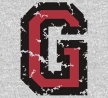 Letter G (Distressed) two-color black/red character by theshirtshops