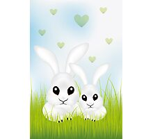 Adorable Easter rabbits in green grass Photographic Print