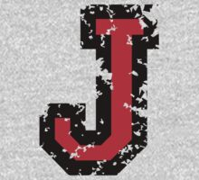 Letter J (Distressed) two-color black/red character by theshirtshops