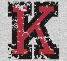 Letter K (Distressed) two-color black/red character by theshirtshops