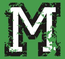 Letter M (Distressed) two-color black/white character by theshirtshops