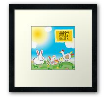 Illustration or a postcard with a rabbit, decorative eggs, chicken  Congratulations with Easter  Blue sky, animals on the meadow  Framed Print