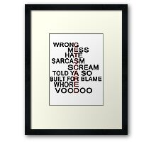 GetScared Song title art Framed Print