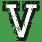 Letter V (Distressed) two-color black/white character by theshirtshops