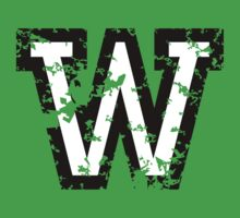 Letter W (Distressed) two-color black/white character by theshirtshops