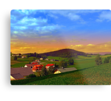 Small village skyline with sunset | landscape photography Metal Print