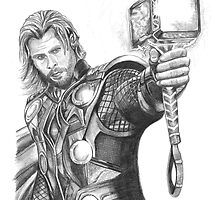 Thor Pencil Sketch Print by Aimzzart