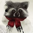 Raccoon with scarf by Wendy Senssen