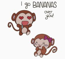 Valentines Day - I Go Bananas Over You [Transparent Stickers and Apparel] by charsheee