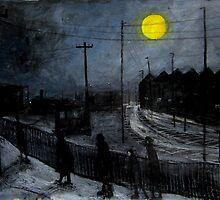 full moon and railway tracks by glennbrady