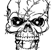 Barbed Wire Skull by kwg2200