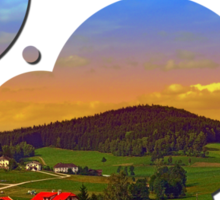 Small village skyline with sunset | landscape photography Sticker