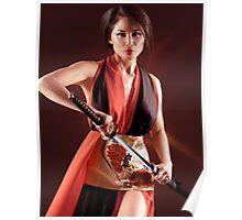 Geisha warrior art photo print Poster