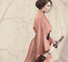 Asian woman in red kimono with a sword art photo print by ArtNudePhotos