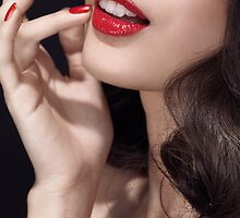 Woman with red lipstick closeup of sensual mouth art photo print by ArtNudePhotos