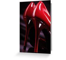 Sexy red high heel shoes closeup art photo print Greeting Card
