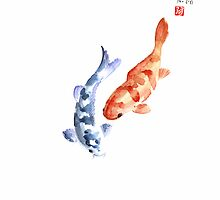Orange Red Blue Fish Pisces Koi Carp Zodiac Ocean Animal World Water Colors collection Fishes by Johana Szmerdt